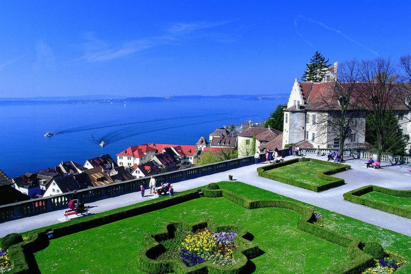 View of the park and Meersburg Castle