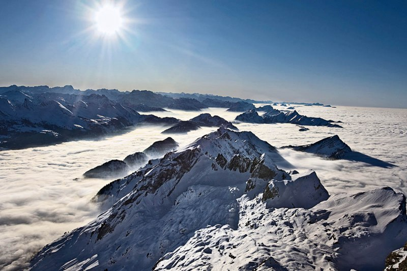 Legendary view from Säntis to the summits.