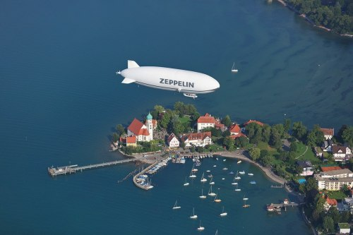 The Zeppelin NT hovers over the Wasserburg Peninsula