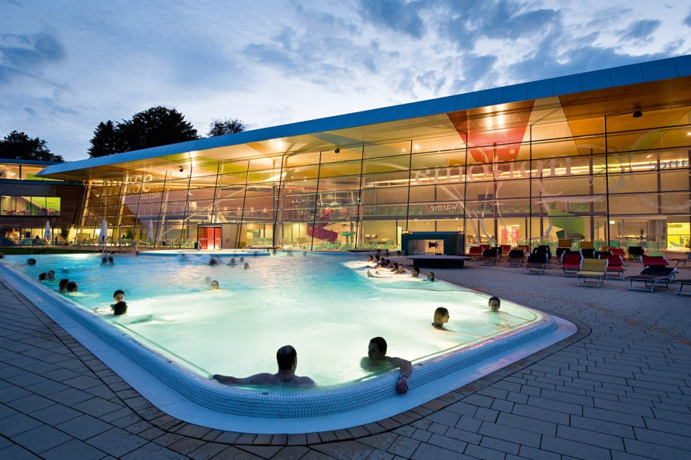 The Bodensee-Therme Konstanz in the evening