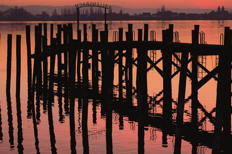 Sunset at the Allensbach jetty