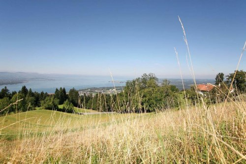View from Stegen over village to Lake Constance
