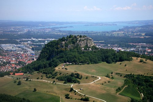 From the local mountain Hohentwiel you have a view over Singen, the Hegau and Lake Constance.